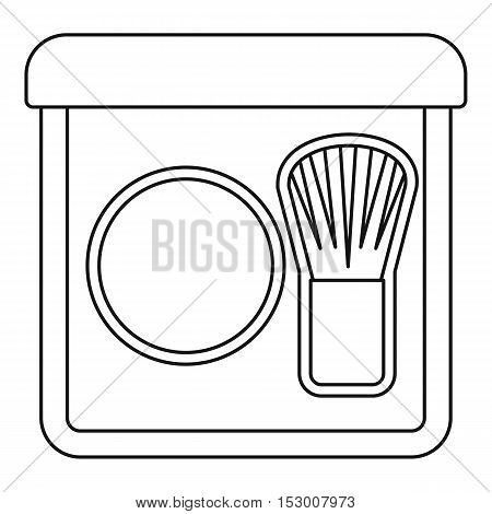 Rouge with brush icon. Outline illustration of rouge with brush vector icon for web