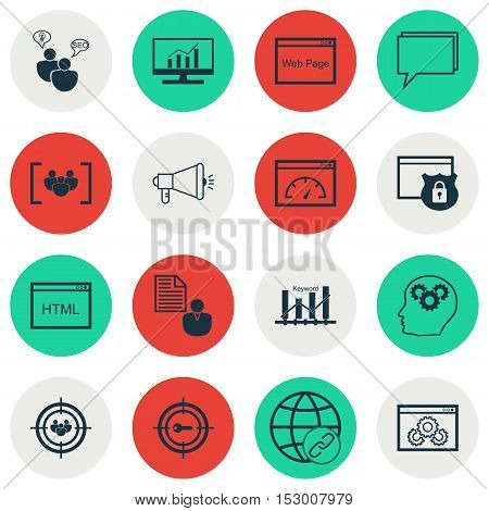 Set Of Advertising Icons On Security, Media Campaign And Keyword Optimisation Topics. Editable Vecto