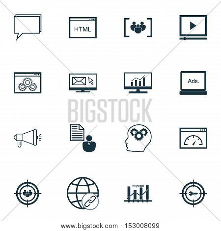 Set Of Advertising Icons On Newsletter, Report And Brain Process Topics. Editable Vector Illustratio