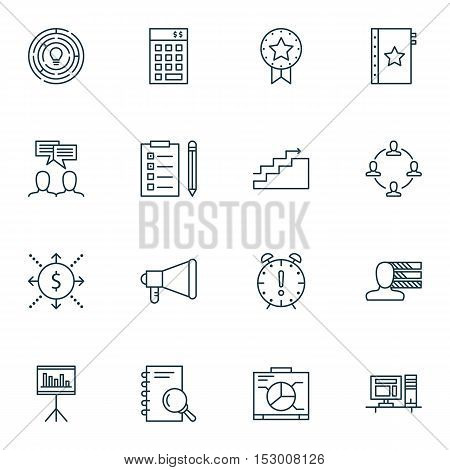 Set Of Project Management Icons On Growth, Announcement And Innovation Topics. Editable Vector Illus