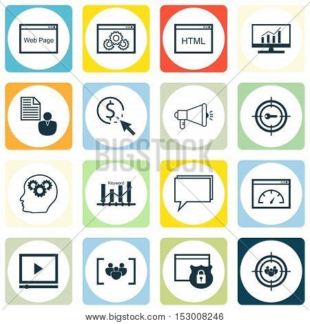 Set Of Seo Icons On Focus Group, Report And Brain Process Topics. Editable Vector Illustration. Incl