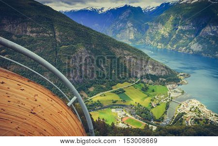 View Of The Fjords At Stegastein Viewpoint In Norway