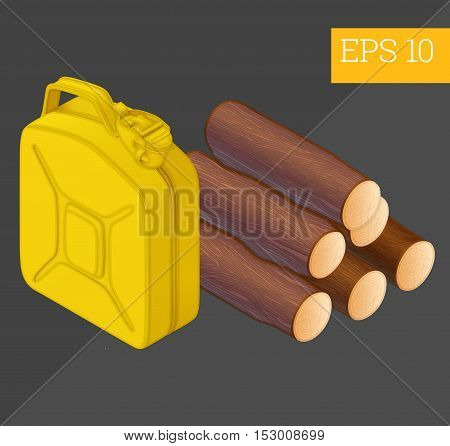 Firewood Jerrycan Isometric Vector Illustration
