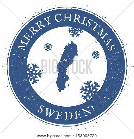 Sweden Map. Vintage Merry Christmas Sweden Stamp. Stylised Rubber Stamp With County Map And Merry Ch