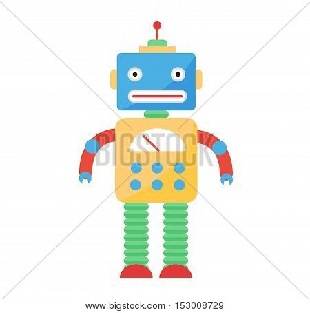 Cute toy robot vector character. Robot technology machine science toy. Cyborg futuristic design robotic toy robot.