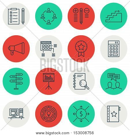 Set Of Project Management Icons On Innovation, Presentation And Collaboration Topics. Editable Vecto