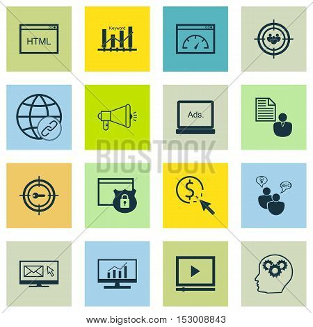 Set Of Marketing Icons On Report, Media Campaign And Ppc Topics. Editable Vector Illustration. Inclu