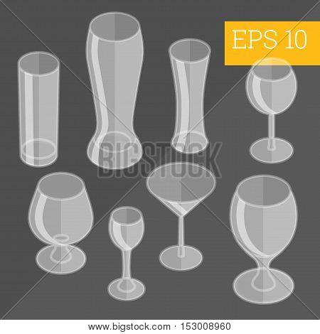 Glassware Isometric Vector Illustration