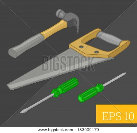 tools collection saw, screwdriver and hammer set eps10 vector illustration.