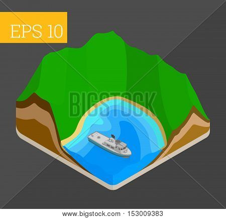 Tropical island lagoon with mountains, sea and yacht eps10 vector illustration
