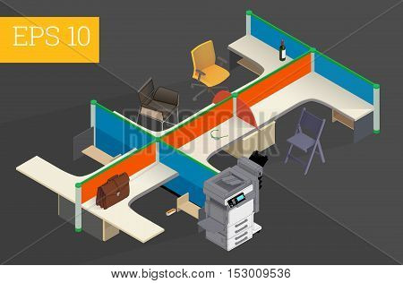 office interior with table, chairs, briefcase, printer eps10 vector illustration