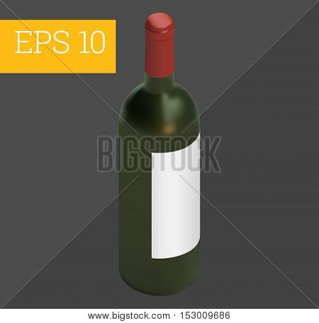 wine bottle with copy space eps10 vector 3d illustration.