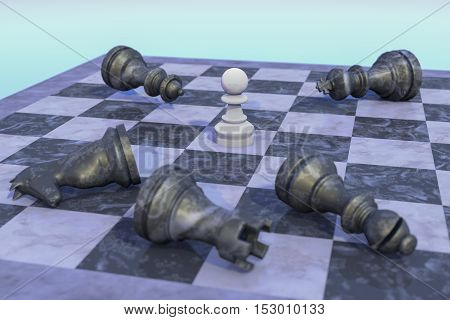 The white pawn for white wins (3d rendering)