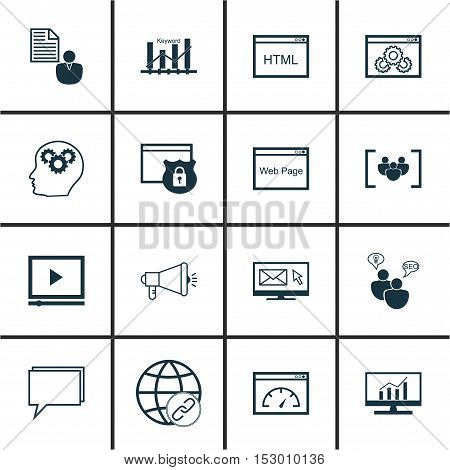Set Of Marketing Icons On Newsletter, Report And Media Campaign Topics. Editable Vector Illustration