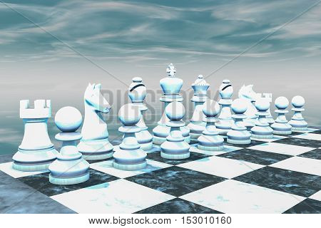 The white figures of a chess game (3d rendering)