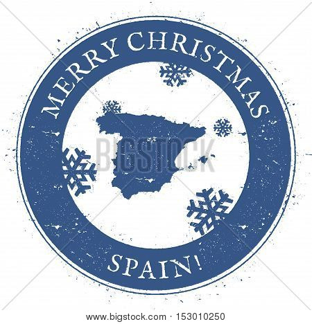 Spain Map. Vintage Merry Christmas Spain Stamp. Stylised Rubber Stamp With County Map And Merry Chri