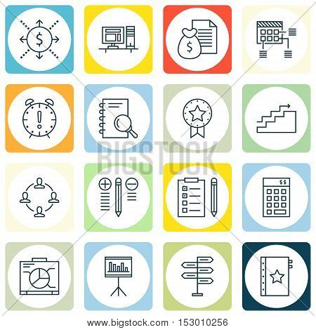Set Of Project Management Icons On Present Badge, Schedule And Growth Topics. Editable Vector Illust