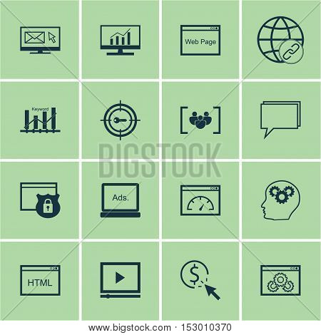 Set Of Marketing Icons On Video Player, Loading Speed And Conference Topics. Editable Vector Illustr