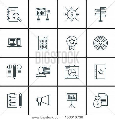 Set Of Project Management Icons On Announcement, Warranty And Investment Topics. Editable Vector Ill