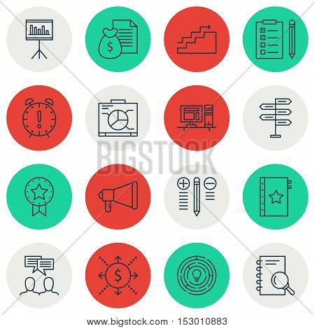 Set Of Project Management Icons On Board, Time Management And Present Badge Topics. Editable Vector