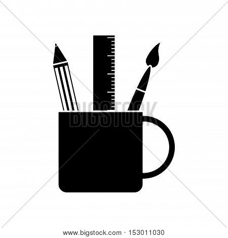 Ruler pencil and paint brush inside mug object icon. School supply tool instrument and education theme. Isolated design. Vector illustration