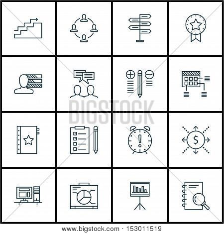 Set Of Project Management Icons On Schedule, Present Badge And Computer Topics. Editable Vector Illu