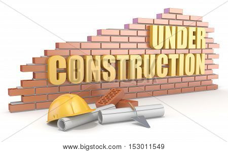Under construction sign. 3D render illustration isolated on white background