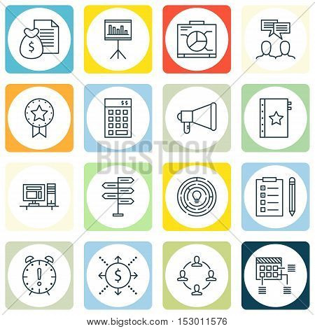 Set Of Project Management Icons On Announcement, Investment And Board Topics. Editable Vector Illust