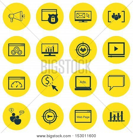 Set Of Seo Icons On Ppc, Media Campaign And Website Topics. Editable Vector Illustration. Includes R