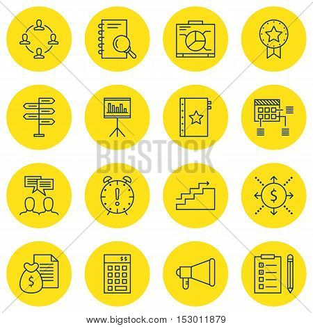 Set Of Project Management Icons On Board, Announcement And Time Management Topics. Editable Vector I