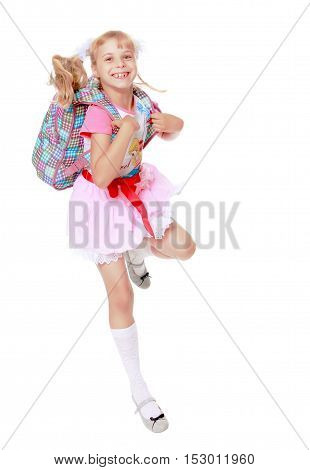 Cheerful little girl in a pink short skirt hurries to school-Isolated on white background