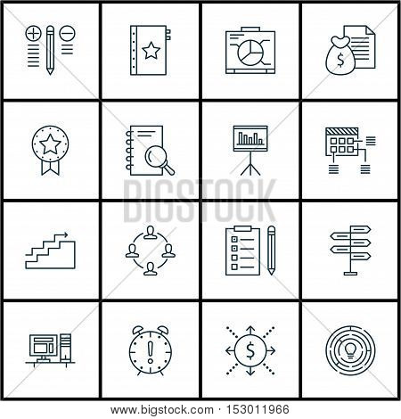 Set Of Project Management Icons On Innovation, Analysis And Report Topics. Editable Vector Illustrat