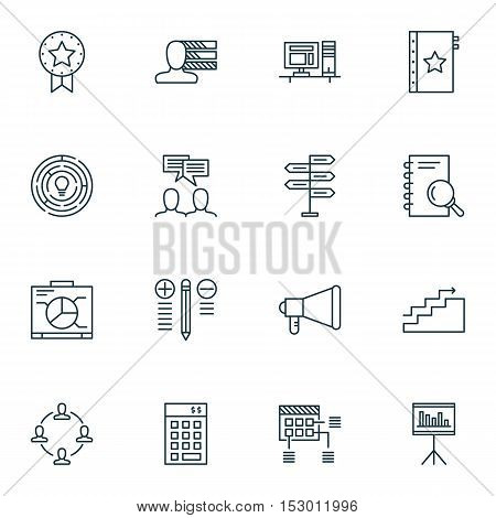 Set Of Project Management Icons On Warranty, Collaboration And Announcement Topics. Editable Vector