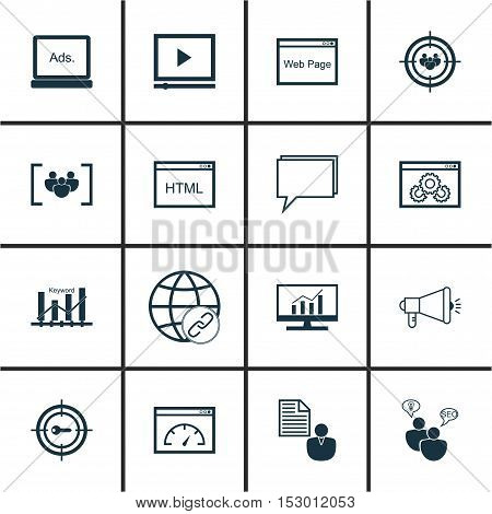 Set Of Marketing Icons On Market Research, Conference And Loading Speed Topics. Editable Vector Illu