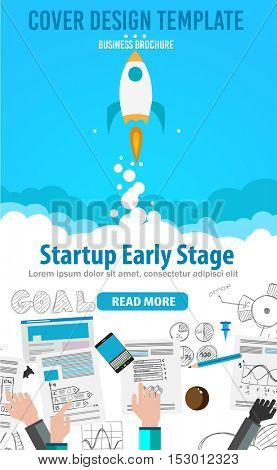 Startup Landing Webpage or Corporate Design Covers to use for web promotions, printed related materials or company presentation. Space for text.