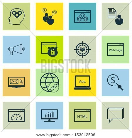 Set Of Advertising Icons On Brain Process, Digital Media And Connectivity Topics. Editable Vector Il