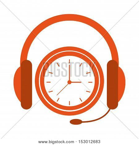 Headphone and clock icon. Call center technical service and online support theme. Isolated design. Vector illustration