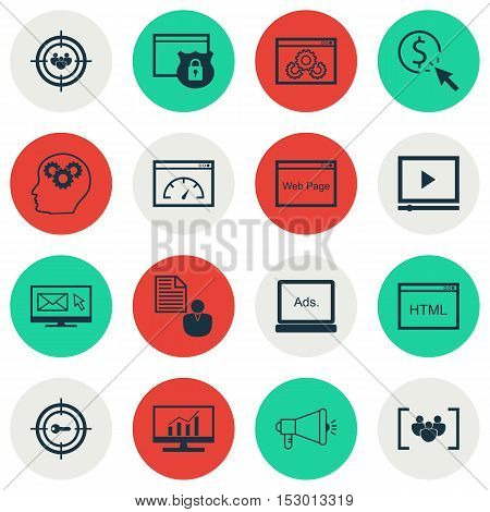 Set Of Seo Icons On Video Player, Security And Ppc Topics. Editable Vector Illustration. Includes Cr