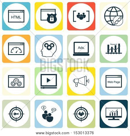 Set Of Advertising Icons On Brain Process, Website And Keyword Marketing Topics. Editable Vector Ill
