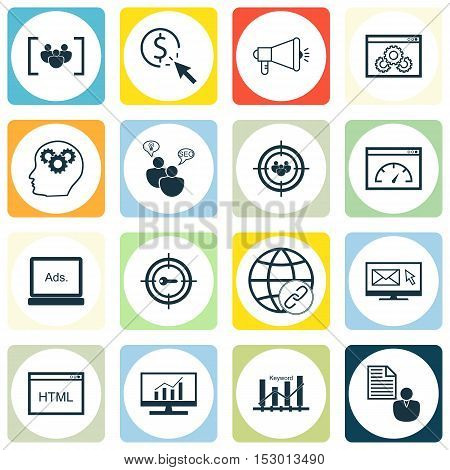 Set Of Seo Icons On Ppc, Coding And Keyword Marketing Topics. Editable Vector Illustration. Includes