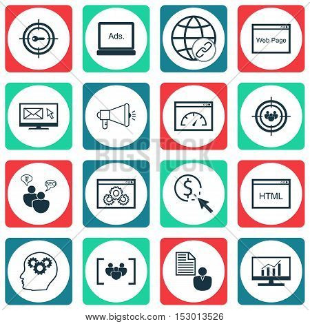 Set Of Seo Icons On Website Performance, Market Research And Newsletter Topics. Editable Vector Illu
