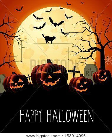 Halloween night orange background with pumpkins and moon. Handwritten text. Vector illustration