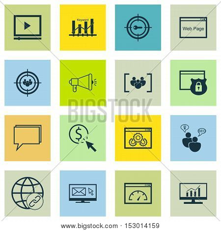Set Of Seo Icons On Market Research, Website And Questionnaire Topics. Editable Vector Illustration.