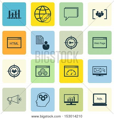 Set Of Marketing Icons On Connectivity, Keyword Marketing And Newsletter Topics. Editable Vector Ill