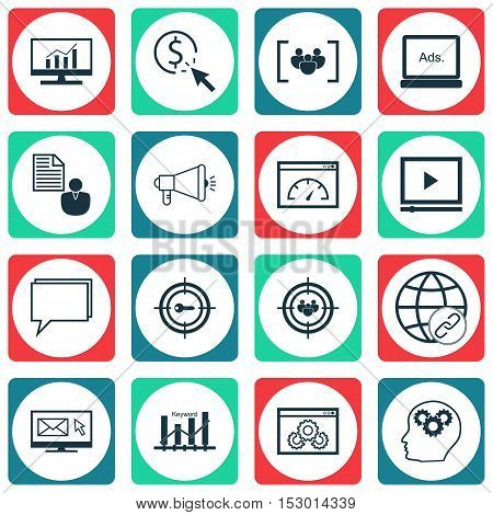 Set Of Seo Icons On Media Campaign, Loading Speed And Ppc Topics. Editable Vector Illustration. Incl