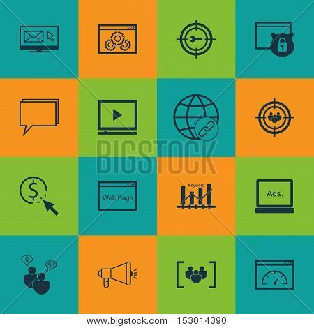 Set Of Advertising Icons On Questionnaire, Keyword Marketing And Website Topics. Editable Vector Ill