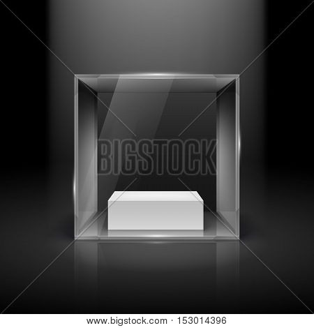Glass Showcase in Cube Form with Spot Light for Presentation on Black