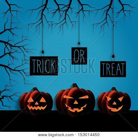 Trick or treat poster with spider holding board. Halloween blue background. Vector illustration.
