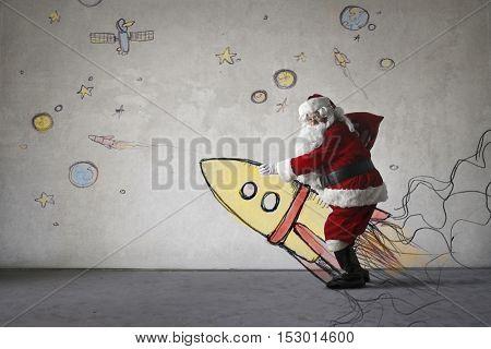 Santa Claus taking off