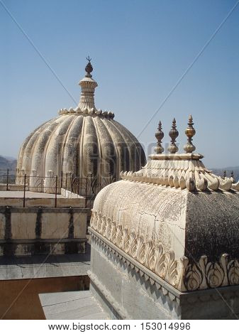 Decorative Rooftops Atop Kumbhalgarh Fort, the Great Wall of India